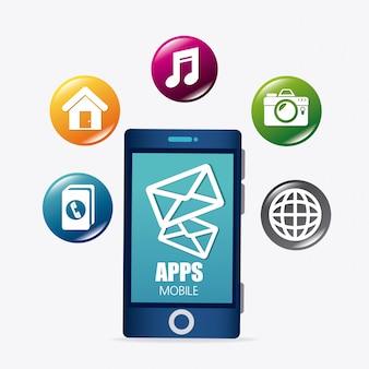 Ontwerp van mobiele applicaties en technologie-iconen.