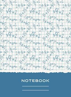 Ontwerp van notebook-omslag. vector wiskundige achtergrond.