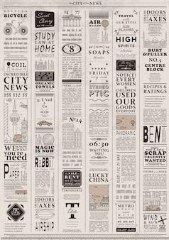 Ontwerp van oude vintage krantenmalplaatje