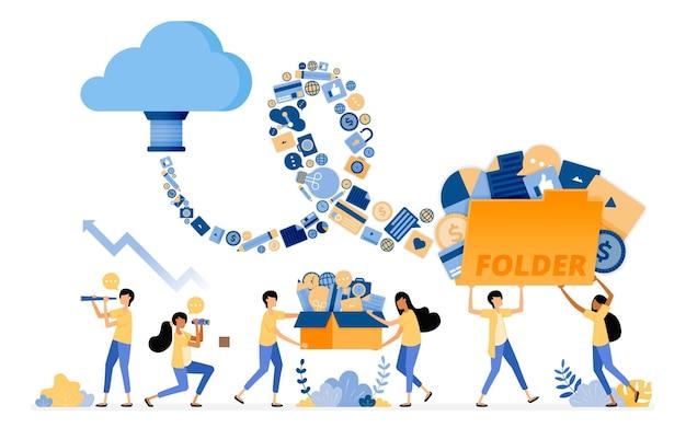 Ontwerp van overdracht en opslag van mediadocumentgegevens naar cloudsysteemopslagtechnologie.