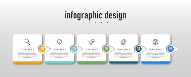Ontwerp van professionele stappen tijdlijn infographics
