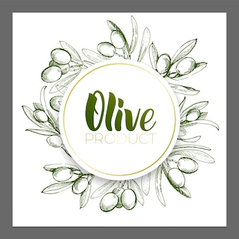 Ontwerp van reclameposters, ansichtkaarten, etiketten voor producten van olijven. olijfolie belettering met brushpen.