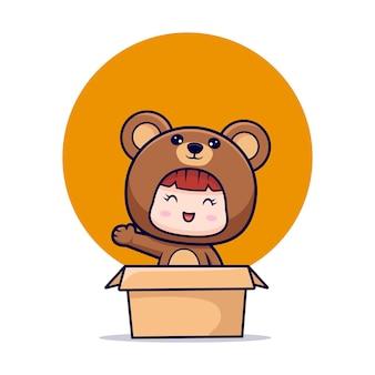Ontwerp van schattig meisje dragen beer kostuum zwaaien hand in kartonnen doos