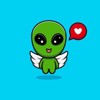 Ontwerp van schattige alien vliegen met vleugel