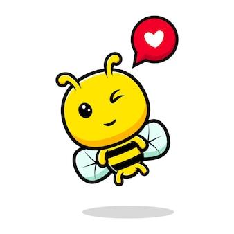 Ontwerp van schattige honingbij die zich gelukkig voelt.