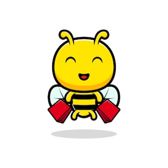 Ontwerp van schattige honingbij shoping.