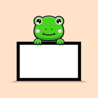 Ontwerp van schattige kikker met wit leeg tekstbord