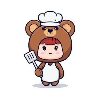 Ontwerp van schattige meisjeschef-kok die berenkostuum draagt