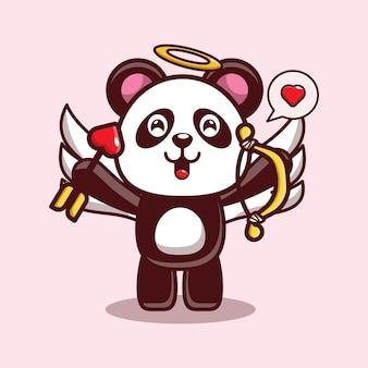 Ontwerp van schattige panda met een liefdespijl