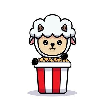 Ontwerp van schattige schapen die popcorn eten