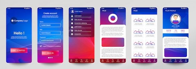 Ontwerp van set mobiele applicatie, ui, ux.