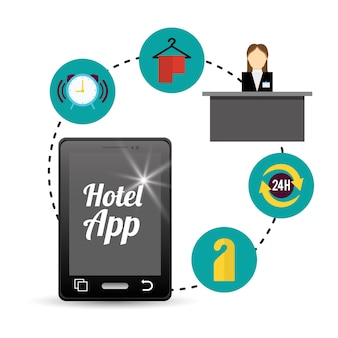 Ontwerp van smartphone en hotel digitale apps