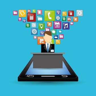 Ontwerp van smartphone-receptionist en hotel digitale apps