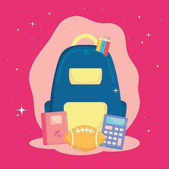 Ontwerp van terug naar school met schoolrugzak