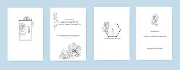 Ontwerp van uitnodigingslay-outs met bloemenelementen contourbeeld van een bloem in een frame.