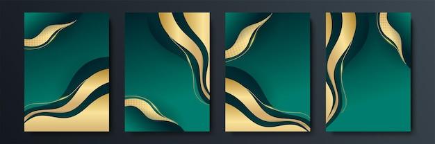 Ontwerp van vector minimalistische covers met gradiënt en geometrische kruisende lijnvormen. donkergroen en gouden bannerontwerp. moderne omslagsjablonen set