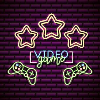 Ontwerp van videogames met sterren over bakstenen muur, neonstijl