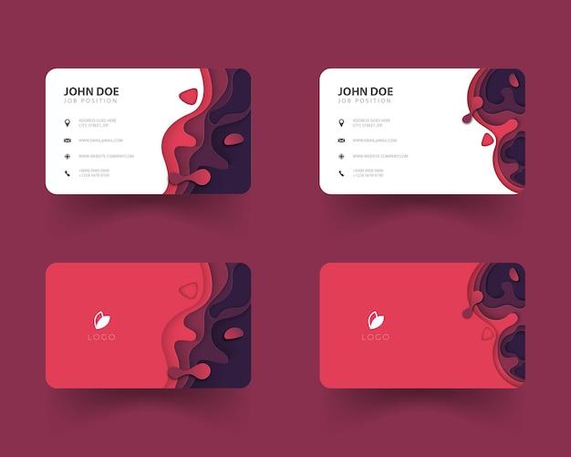 Ontwerp van visitekaartje set met papier gesneden vormen rode kleur