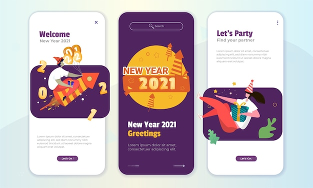 Ontwerp van welkom nieuwjaar op het schermconcept aan boord