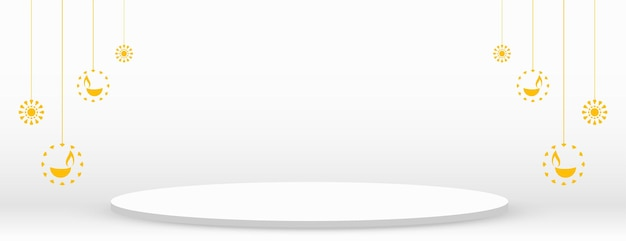 Ontwerp van witte diwali-podium webbanner