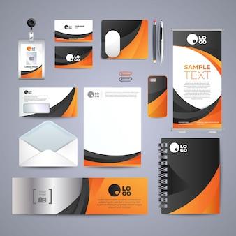 Ontwerp van zakelijke oranje identiteit