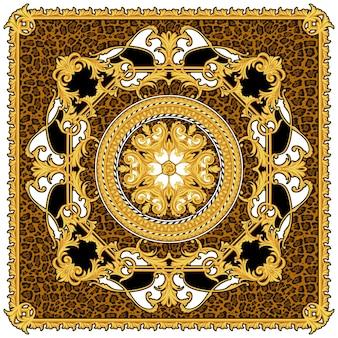 Ontwerp van zijden sjaal met dierenprint en gouden krullen