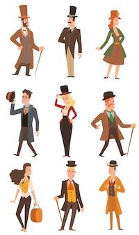 Ontwerp victoriaanse mensen.
