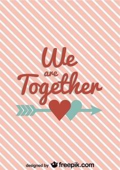 Ontwerp vintage valentijnskaart met gestreepte achtergrond tekst en pijl