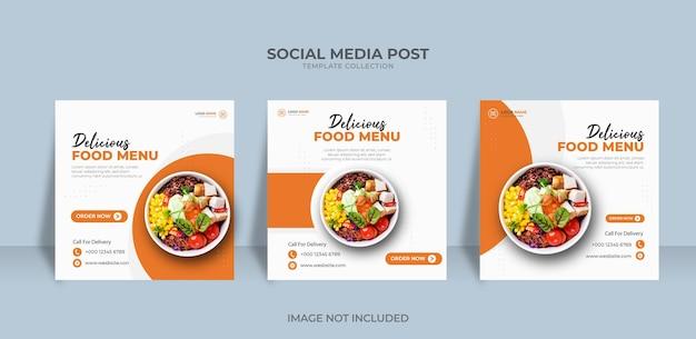 Ontwerp voedselmenu sociale media promotie banner post ontwerpsjabloon