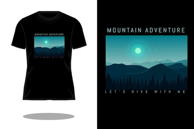 Ontwerp voor een bergavontuur silhouet