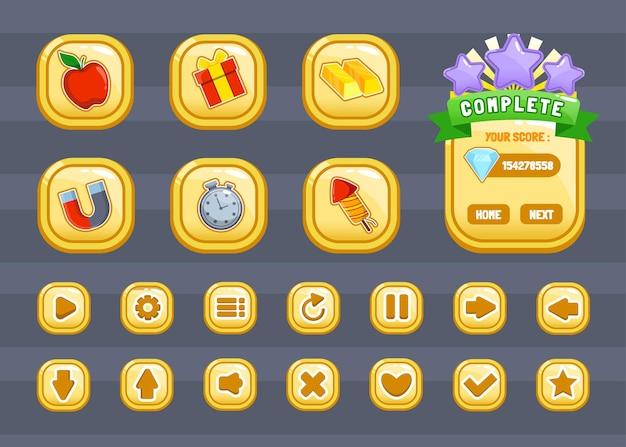 Ontwerp voor een complete set van pop-up, pictogram, venster en elementen van scoreknoppen voor het maken van middeleeuwse rpg-videogames