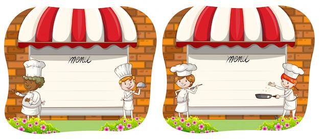 Ontwerp voor een papieren met chef-kok en menu