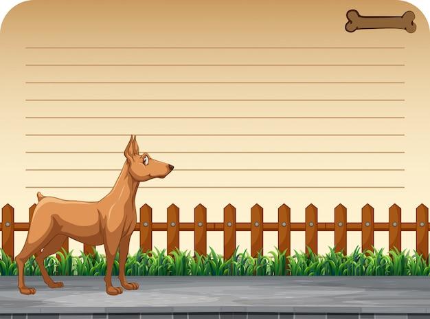 Ontwerp voor een papieren met hond op straat