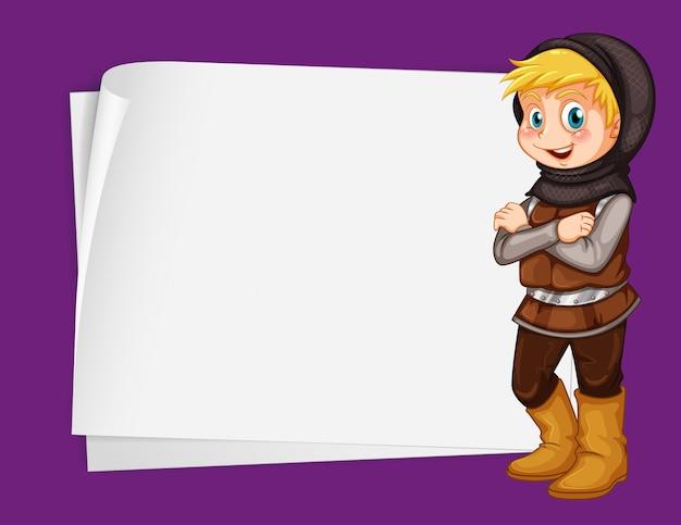 Ontwerp voor een papieren met jager uit sprookjes