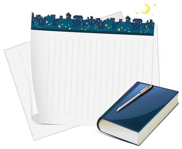 Ontwerp voor een papieren met uitzicht op de stad 's nachts