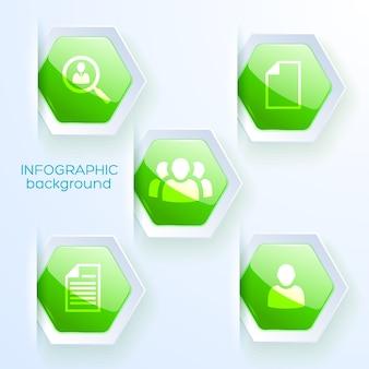 Ontwerp voor een papieren voor zakelijke infographic met vijf groene zeshoek pictogrammen op thema teamwerk strategie plat