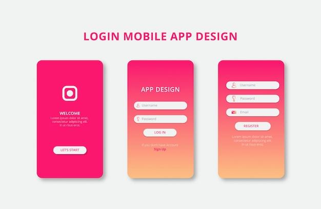 Ontwerp voor mobiele apps met woestijnillustratie kleurovergang premium
