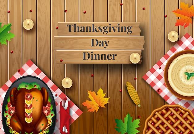 Ontwerp voor thanksgiving-diner uitnodiging. vector illustratie