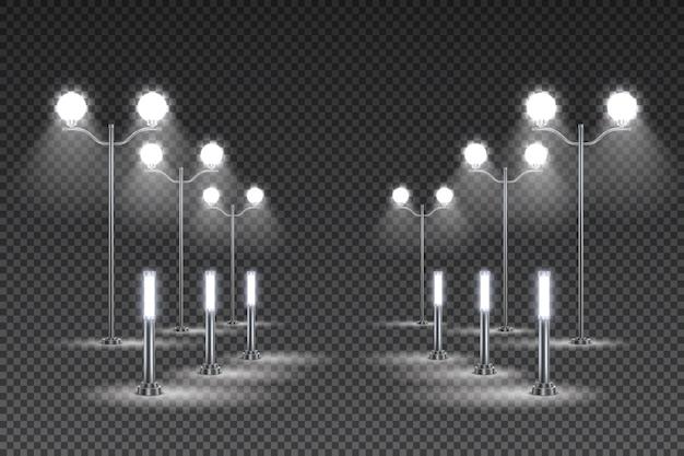 Ontwerp voor tuinverlichting buiten met hoge lantaarns en straatverlichting op zonne-energie