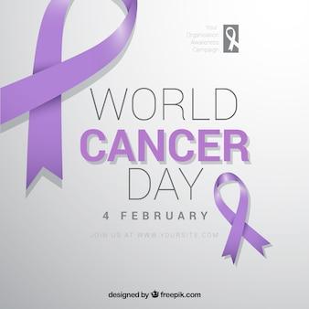 Ontwerp voor wereldkanker dag met paarse linten