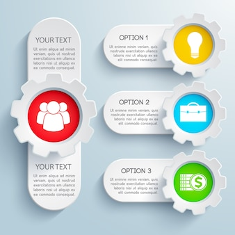 Ontwerp zakelijke infographic set met kleurrijke pictogrammen en tekstveld geïsoleerd
