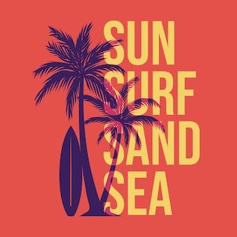 Ontwerp zon surfen zand zee met silhouet palmboom en surfplank vlakke afbeelding