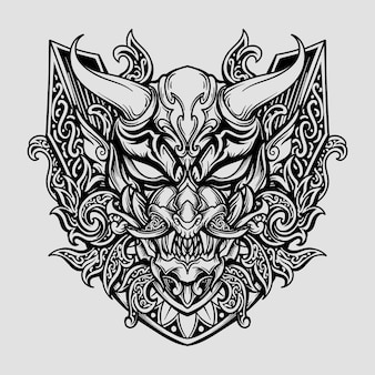 Ontwerp zwart-wit hand getekend oni masker hanya gravure ornament
