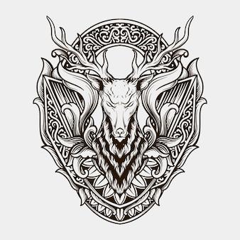 Ontwerp zwart-wit hand getrokken herten hoofd gravure ornament