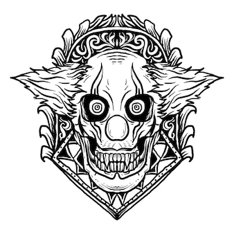 Ontwerp zwart-wit hand getrokken illustratie clown schedel met gravure ornament
