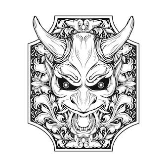 Ontwerp zwart-wit hand getrokken illustratie oni masker gravure ornament