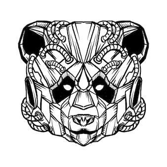 Ontwerp zwart-wit hand getrokken illustratie robotachtige panda hoofd