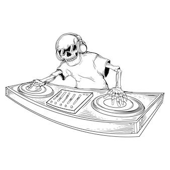 Ontwerp zwart-wit hand getrokken illustratie skelet dj