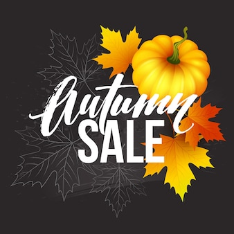 Ontwerpbanner herfstuitverkoop. herfst posterontwerp met pompoen, bladeren en aartjes. vector illustratie eps10