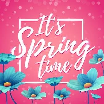 Ontwerpbanner het is lente. flyer voor lenteseizoen met vierkant frame. poster met blauwe bloemdecoratie op roze achtergrond.
